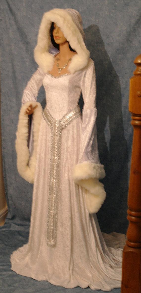 Wedding - medieval dress, renaissance dress, snow queen dress, elven dress, FAIRY dress, winter wedding dress,  custom made