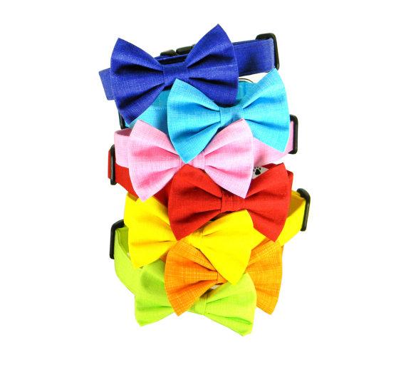 Свадьба - Solid Bow Tie Dog Collar/ Blue/ Red/ Pink/ Orange/ Green: Rainbow Solids