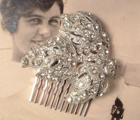 Boda - Art Deco / Nouveau Bridal Hair Comb, 1920s 1930s Leaf Dress Clip Comb, Vintage Pave Rhinestone Silver Head Piece, Rustic Woodland Wedding