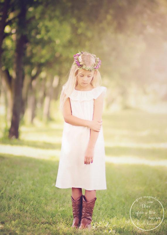 Wedding - Flower girl dress, simple flower girl dress, cream flower girl dress, ivory flower girl dress, flower girl dresses, affordable flower girl