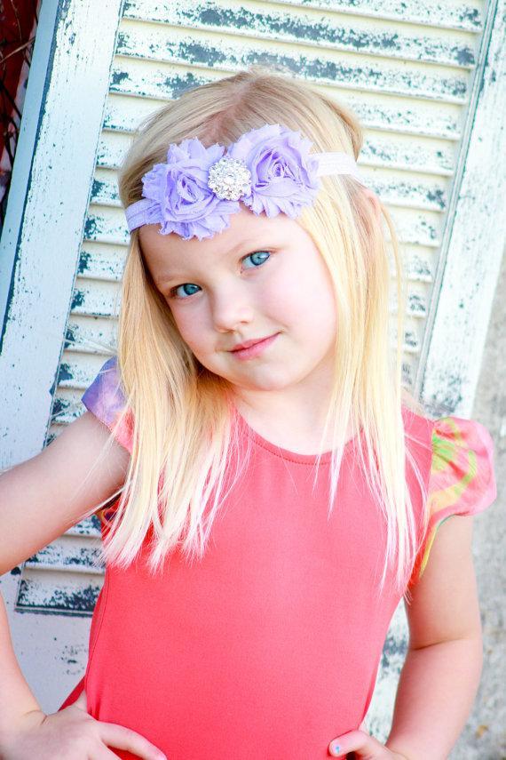 Headband Baby Headbands Lavender Shabby Flower Headband Baby Girl