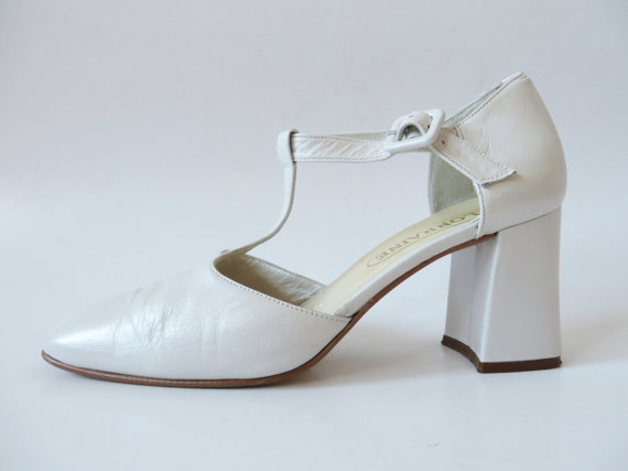 Mariage - Ivory White Mary Janes Nacre Genuine Leather Flapper Ankle Straps Shoes Buckle T Strap Women's High Heel Pumps Wedding EUR 38 UK 5 US 7.5
