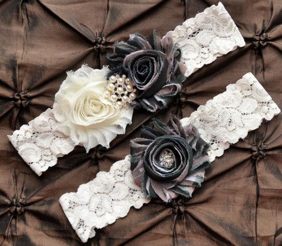 Wedding - Camo Garter, Bridal Garter Set - Ivory Lace Garter, Keepsake Garter, Toss Garter, Camo Wedding Garter Belt, Hunting Wedding Garter, Army