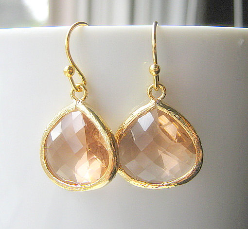 Mariage - Blush Drop Earrings, Gold Teardrop, Bridesmaid Earrings Glass Dangle, Bridal, Wedding, Champagne, 14K Gold Filled Wire, Peach
