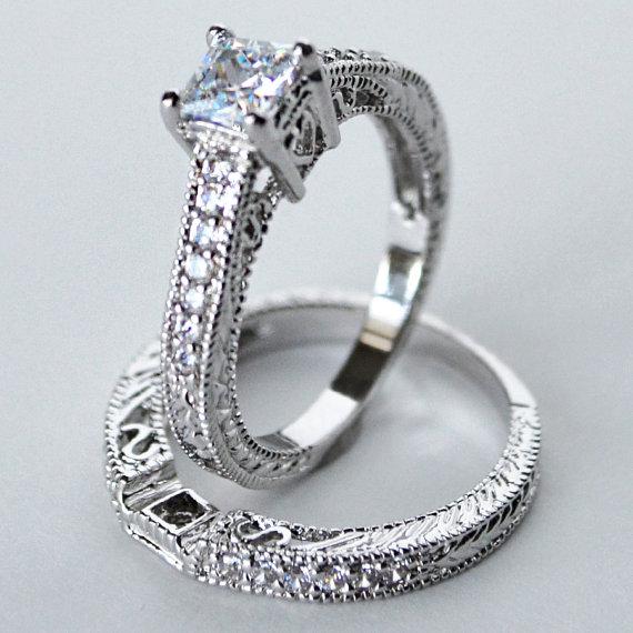 Mariage - cz ring, cz wedding ring, cz engagement ring, wedding ring set, ring set, cz wedding set cubic zirconia size 5 6 7 8 9 10 - MC1082981AZ