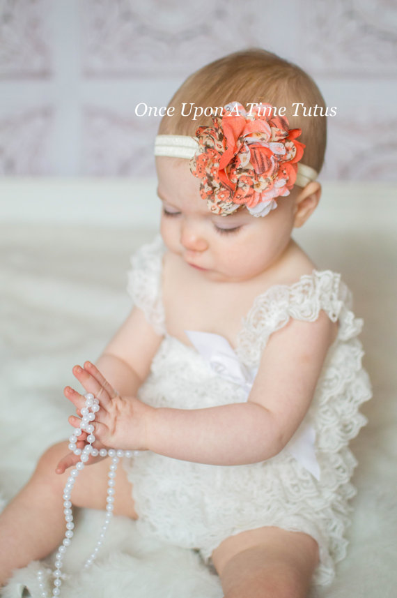 Hochzeit - Springtime Coral Chiffon Puff Headband - Fabric Flower - Newborn Baby Hairbow - Little Girls Easter Hair Bow - Spring or Summer Photo Prop