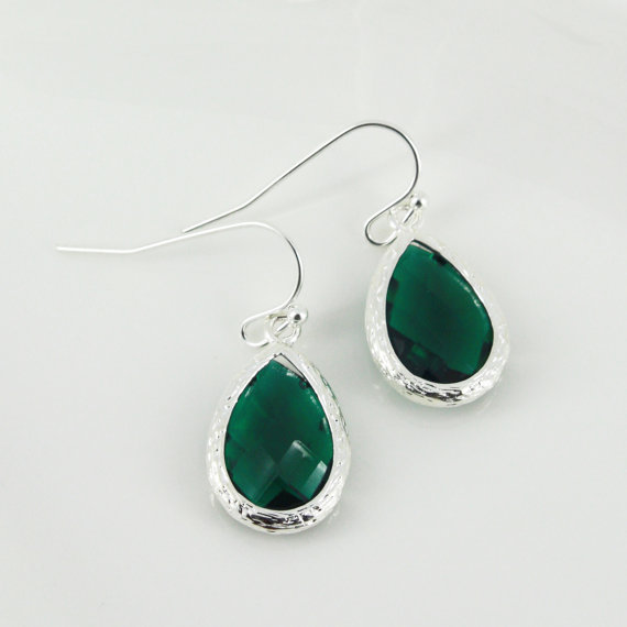 Emerald Green Drop Earrings Bridesmaid Gift Dangle Wedding Jewelry