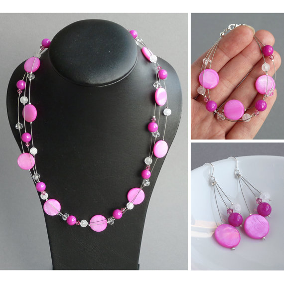 Mariage - Bright Pink Jewellery Set - Fuchsia Floating Pearl Necklace, Bracelet and Drop Earrings - Hot Pink Bridal Party Gifts - Magenta Bridesmaids