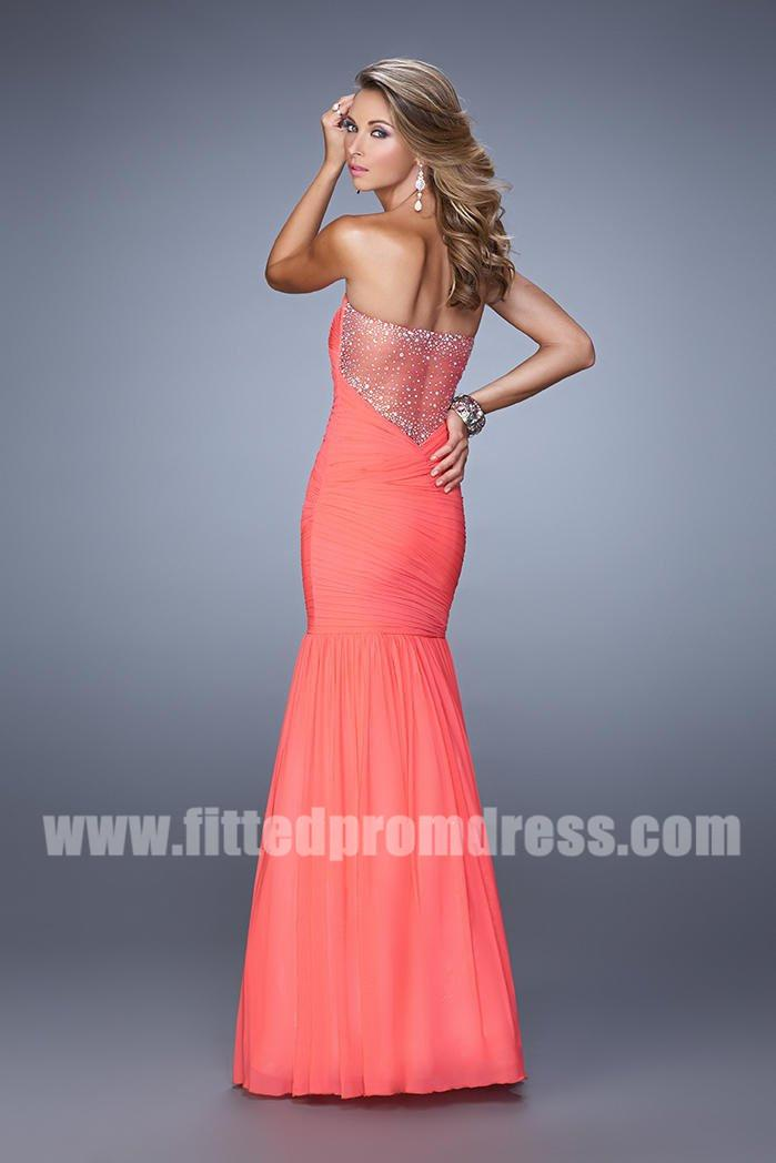 Wedding - 2015 La Femme 21203 Strapless Pleated Prom Dress with Sheer Back