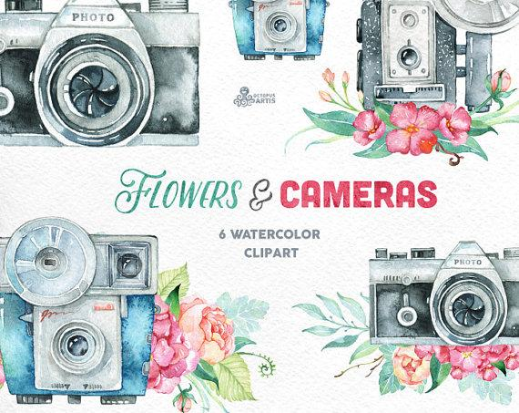 Mariage - Flowers & Cameras. 6 Handpainted clipart, invitation, photocamera, quote, wedding, boho, retro, floral bouquets, diy