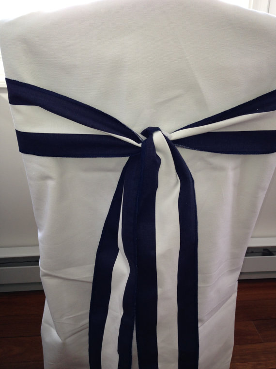 """Mariage - Black and white stripe cotton chair sash, 4.5"""" wide x 72"""" Long  wedding decorations, chair bow"""