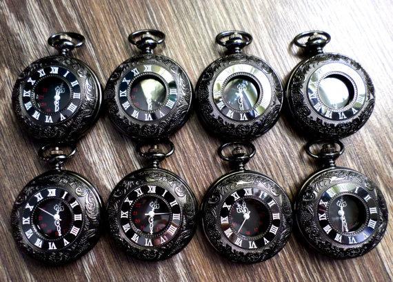 Wedding - Set of 9 Gunmetal Black Quartz Pocket Watches with Vest Chains Groomsmen Gift Groom's Corner Wedding Party Ships from Canada