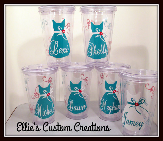 Mariage - Bridal Party Wedding Tumbler Set of 6 Custom Made and Personalized