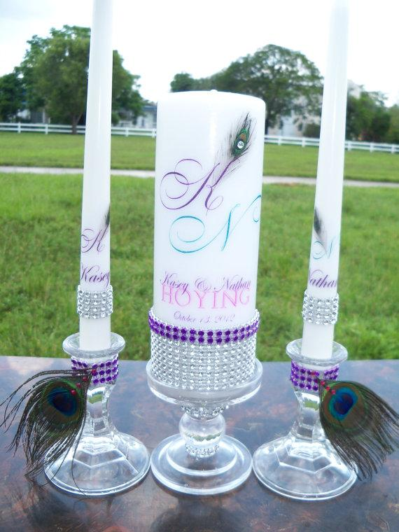 Mariage - Purple Peacock.............Unity Candle and holder set
