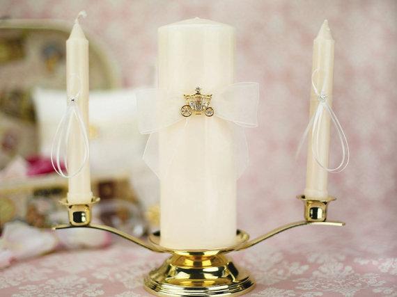 Mariage - Elegant Fairy Tale Cinderella Coach Wedding Unity Candle Set (Silver/Gold) - 35220/35221