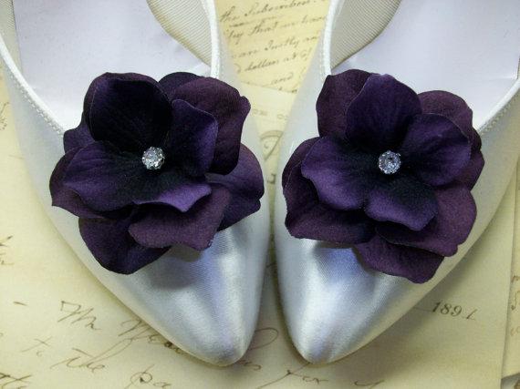 Mariage - Deep Purple Velvet Hydrangea Wedding Shoe Clips