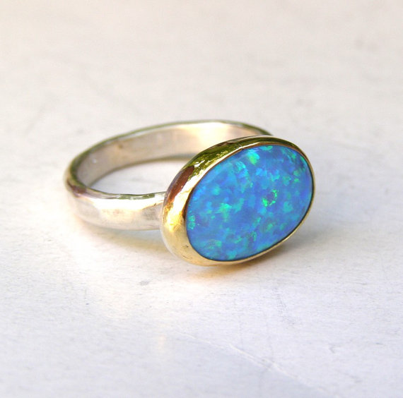 Mariage - Engagement Ring ,Cocktail, Handmade statement ring - Blue opal Gemstone silver ring  - Recycled gold ring - Made to order