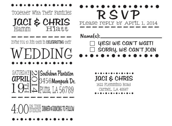 Wedding Invitation Rubber Stamp Set For DIY Wedding Invitations   Invitation,  RSVP And Return Address Stamp