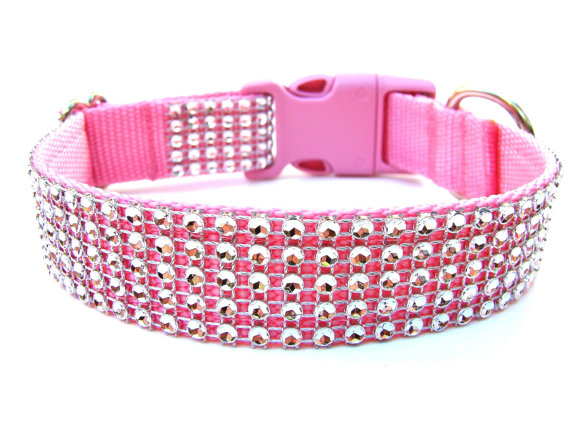 Mariage - Rhinestone Dog Collar Silver and Pink
