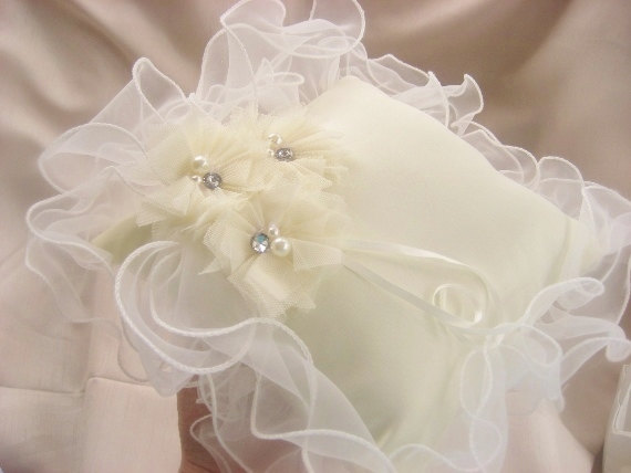 Mariage - Wedding Ring Pillow Ring Bearer Pillow White Custom Color flowers too