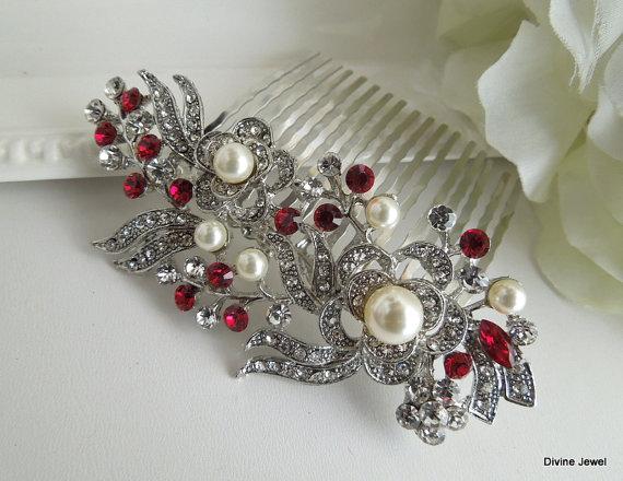 زفاف - Bridal Rhinestone Hair Comb,Wedding Rhinestone Hair Comb,Rose Rhinestone Hair Comb,Swarovski Crystals,Champagne Ivory Pearls,Pearl,Rose,ROSE