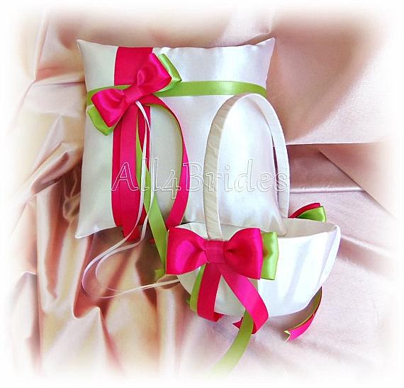 Mariage - Wedding ring pillow and basket Fuchsia Hot Pink Green ring bearer pillow and flower girl basket set
