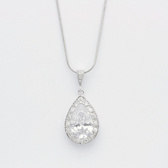 Mariage - Wedding Necklace Bridal Necklace with Large Clear Cubic Zirconia Teardrop pendant Silver Wedding Jewelry