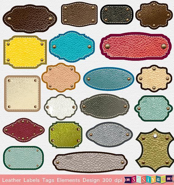 Mariage - INSTANT DOWNLOAD Leather Label Tags Frames Decor Design Elements Digital Clip Art Card Decor Ceremony S436 Buy 1 Get 1 Free