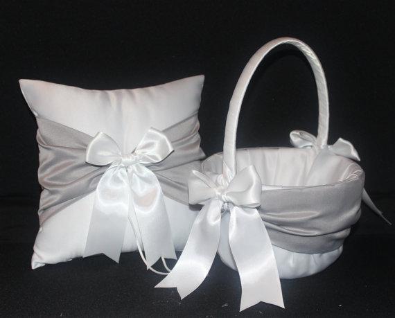 Grey accent 2 piece set ivory or white wedding ring bearer pillow grey accent 2 piece set ivory or white wedding ring bearer pillow flower girl basket mightylinksfo