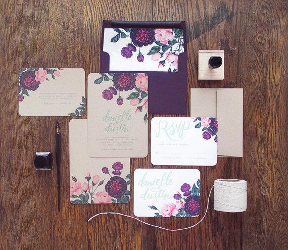 Свадьба - Painted Botanicals Wedding Invitation & Correspondence Set / Deep Vintage Florals and Hand Lettering / Sample Set