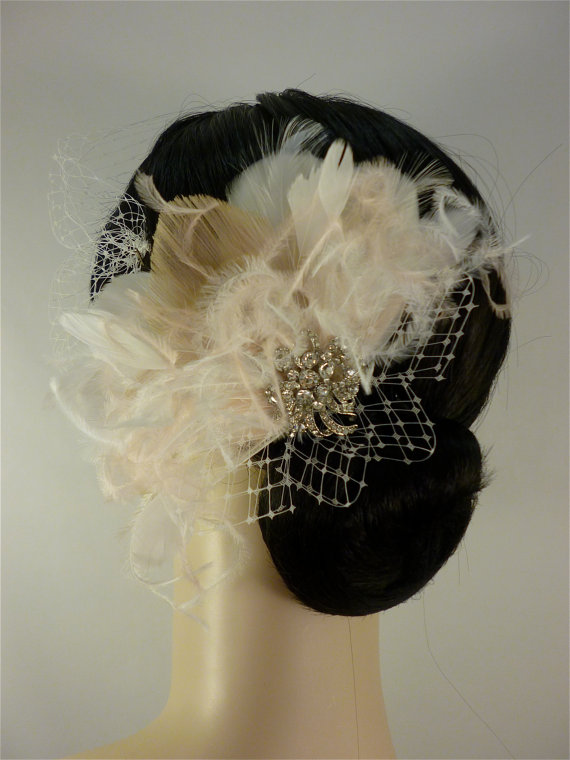 Wedding - Bridal Feather Fascinator with Brooch, Bridal Fascinator, Feather Fascinator, Fascinator, Bridal Veil, Ivory and Blush