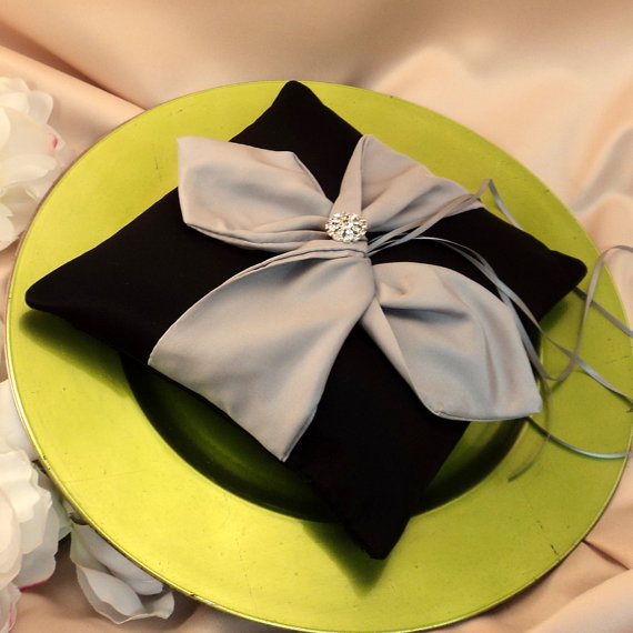 Mariage - Knottie Ring Bearer Pillow with Vibrant Rhinestone Accent...You Choose the Colors....BOGO Half Off..shown in black/silver gray