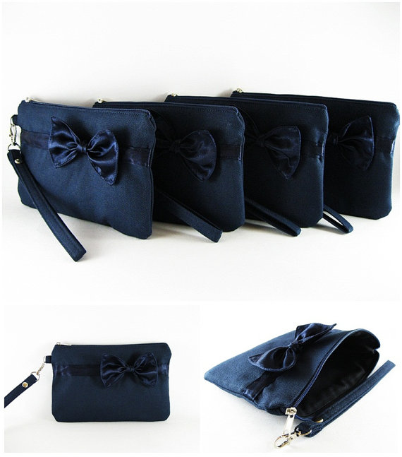 Hochzeit - SUPER SALE - Set of 4 Navy with Little Navy Bow Clutches - Bridal Clutches, Bridesmaid Wristlet, Wedding Gift, Zipper Pouch - Made To Order