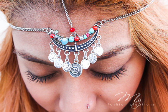 Mariage - Bohemian Head Chain, Headpiece, Boho Head Jewelry, Headdress, Gypsy, Jewelry, Bohemian Hair Jewelry, Turquoise, Silver Head Chain, Headband