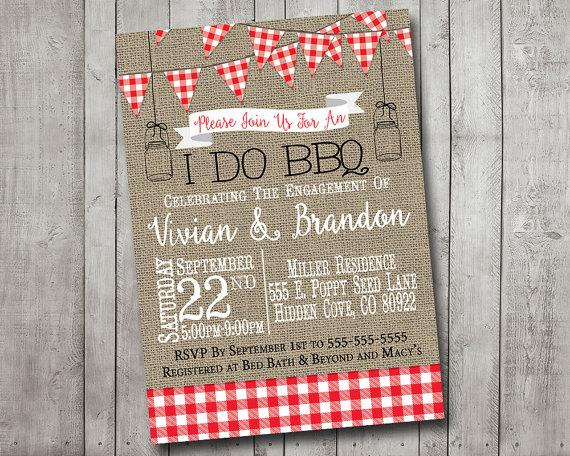 Wedding - I Do BBQ Barbecue Engagement Party Couples Shower Invitation Red Gingham Picnic Rustic Burlap Mason Jar Digital I Customize It For You