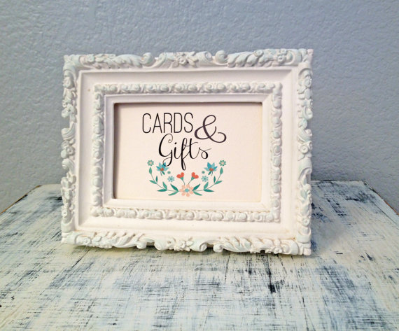 Mariage - 4x6 Cards & Gifts sign - custom wedding reception sign - floral wedding theme