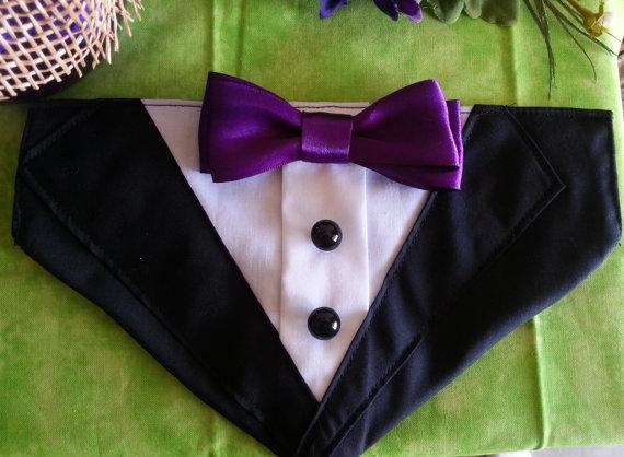 Свадьба - TUXEDO COLLAR Bandana Black with Purple Bow Tie  - Dog Puppy Cat Pet
