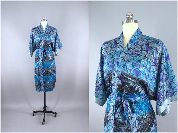 Wedding - Silk Robe / Silk Sari Robe / Silk Kimono Robe / Vintage Indian Sari / Silk Dressing Gown Wedding Lingerie / Boho Bohemian / Blue Aztec