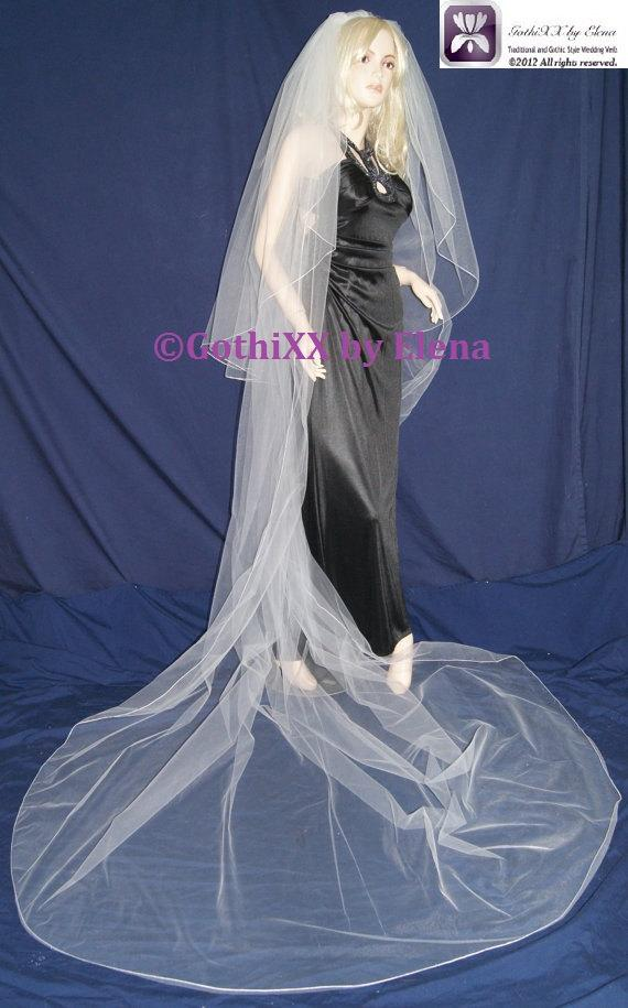 """Wedding - Wedding Veil Cathedral and Fingertip length Black Red Silver Pink Ivory Beige 2Tiers 108"""" Width 42"""" and 120"""" Length Pencil Edge 18 Colors"""