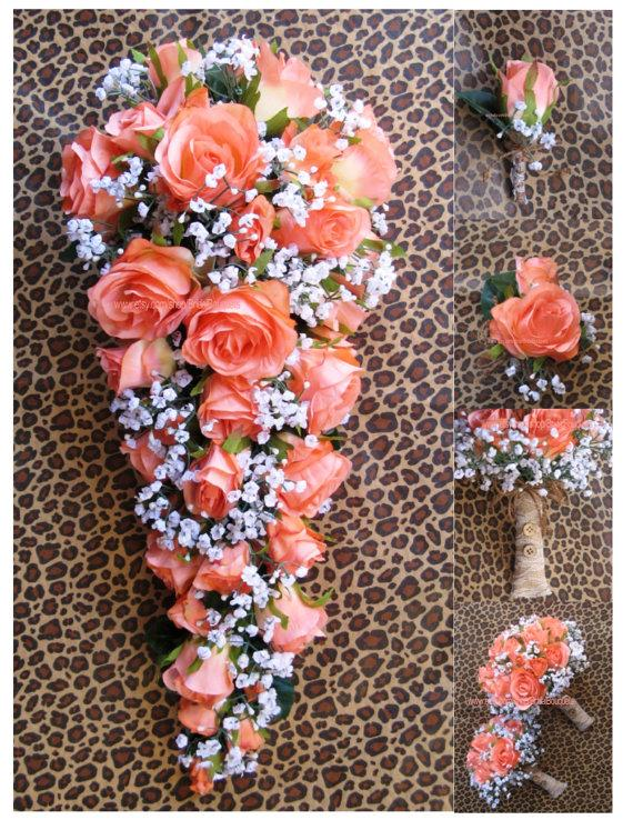 "Mariage - New Artificial Rustic Coral Reef Wedding Bouquet, Cascading 21"" in length. Baby's Breath And Coral Bridal Bouquet"
