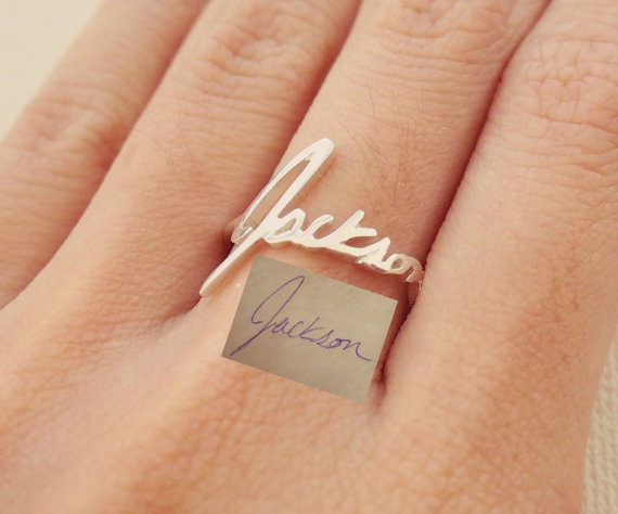 Mariage - SALE Memorial Signature Ring - Personalized Handwriting Ring - Keepsake Jewelry in Sterling Silver - Bridesmaid Gift - MOTHER GIFT