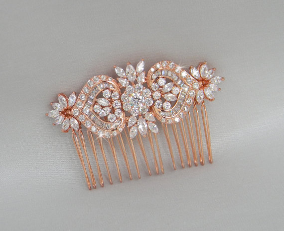 Mariage - Rose Gold Bridal Hair Comb, Rose Gold Wedding headpiece, Crystal Bridal hair comb, Wedding jewelry, Hair clip, London Bridal Comb