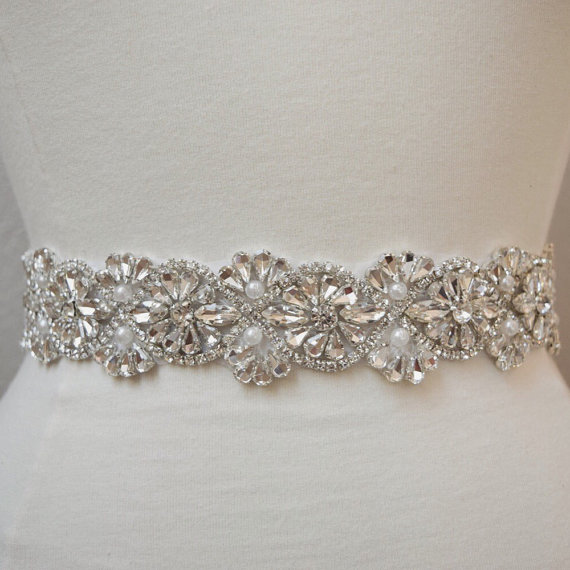 Mariage - Full Length Crystal Rhinestone and Pearl Bridal Belt-  All the Way Around with Clasp Closure - EYM B044