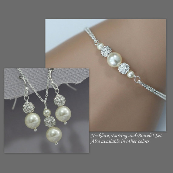 Choose Your Colors Swarovski Ivory Pearl Necklace Earring And Bracelet Set Bridal Jewelry Bridesmaid Gift