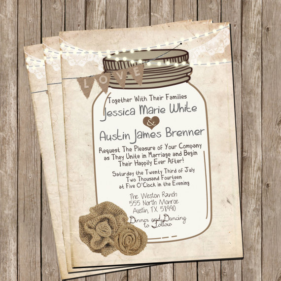 Mason Jar Rustic Burlap And Lace Wedding Invitation, Invite, Printable,  Digital File, Personalized, 5x7,