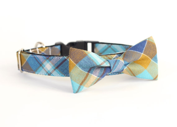 زفاف - New Color! Baker Beach Plaid, Designer dog collars, Bow Tie Dog and Cat Collar Bow Tie Dog Wedding- Dog Collar, Wedding Dog Collar