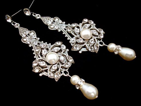 Bridal Earrings Pearl Wedding Earrings Wedding Jewelry – Pearl Chandelier Bridal Earrings