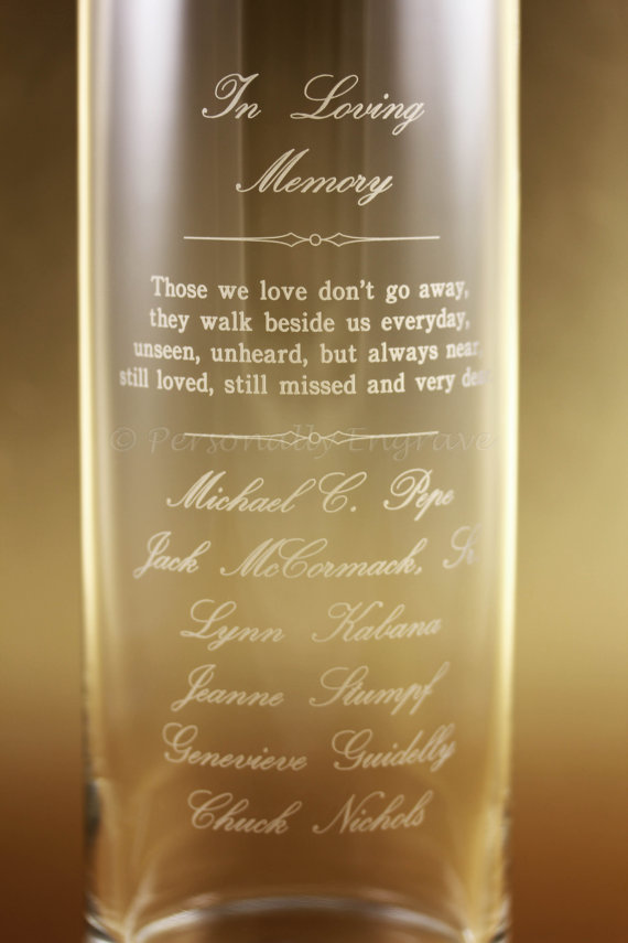 Memorial Candle Vase Floating Candle In A Custom Engraved Glass