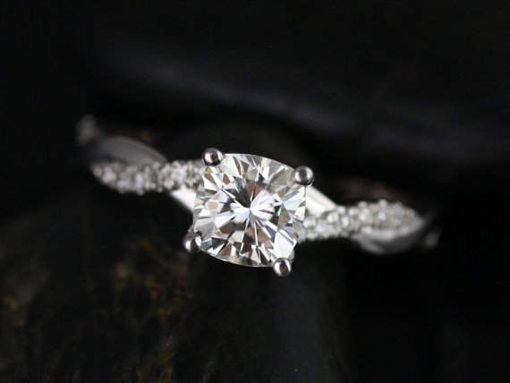Свадьба - Tressa 6mm 14kt White Gold Cushion FB Moissanite and Diamond Twist Engagement Ring (Other Metals and Stone Options Available)