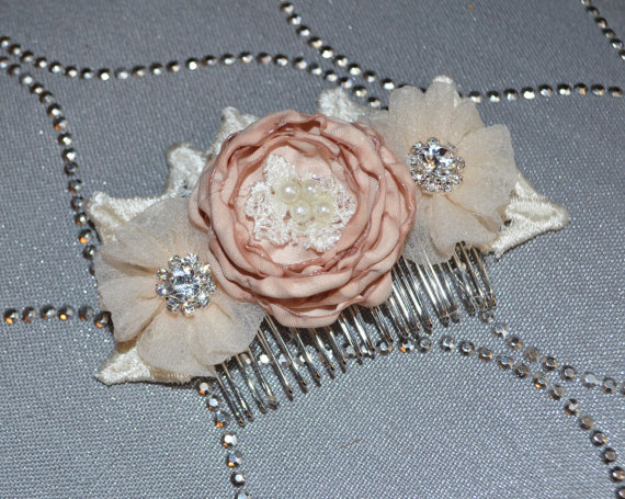 Свадьба - Wedding Hair Comb Blush Beige and Ivory Embellished Flowers with Vintage Lace Rhinestones & Pearls